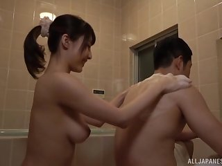 Bathroom blowjob and a cumshot in mouth for Japanese babe Ayami Shunka