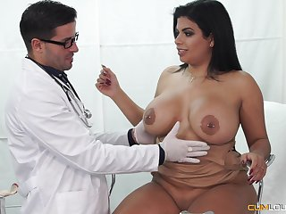 Buxom Latina seduced by her doctor into fucking and eating cum