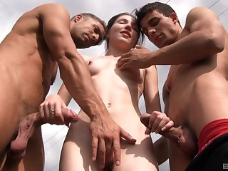 Outdoor MMF threesome with Mia Evans swallowing two loads