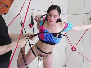 Hardcore BDSM fetish session with Audrey Holiday fed cock in bondage