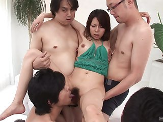 Japanese brunette MILF fucked by three guys and has her holes creamed