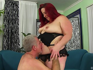 Mature chubby buxom redhead Phoenix gets her fat ass pounded