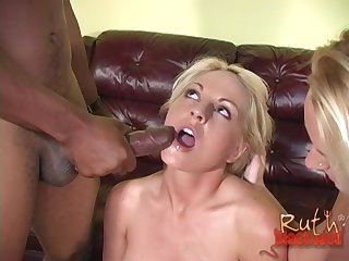 Sindy Lange and Ruth Blackwell share a big black cock and cum