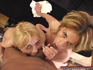 Blonde sluts Jasmine Rouge and Tomi Steel take turns on a cock