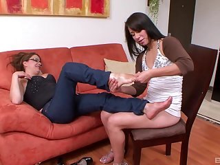 Mature MILF lesbian babes seduce each other with big tits