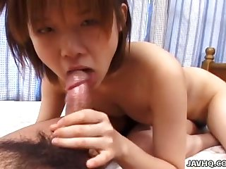 Lovely awaiting gal called Mio Onishi exposes her tits with the addition of gives a nice head
