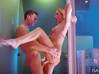 Standing sex in put emphasize shower with a breathtaking blonde