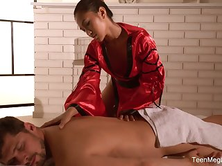 Used Thai massage by sexually charged masseuse with dazzling body May Thai