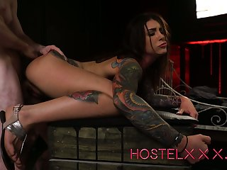 Tattooed buxom gagged whore Jade Jantzen is fucked exotic behind steadfast