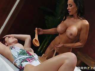 Relaxing time in sauna turns to lesbian resign oneself to for Lisa Ann