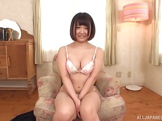 Chubby curvy Japanese babe Koizumi Marin fingers herself on the couch