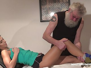 Old fart has the honor to lick plus fucks beautiful pussy be useful to young brunette